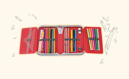 Tigerfamily文具盒:大容?#38752;?#25918;置22只笔,涤纶布面料持久坚固