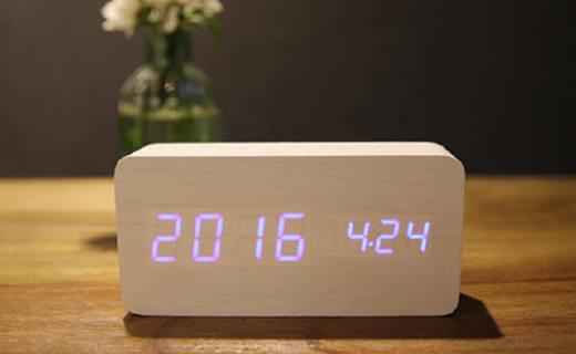 海倫倍爾LED木頭鬧鐘:智能聲控使用方便,附帶溫度顯示多鬧鈴設計