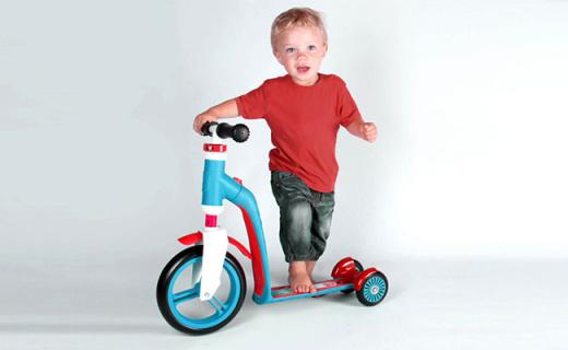 Scoot & Ride儿童滑板车:1秒切换骑滑二合一,双后轮更稳固