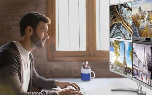 飛利浦4K曲面顯示器,輕松顯示四個屏幕