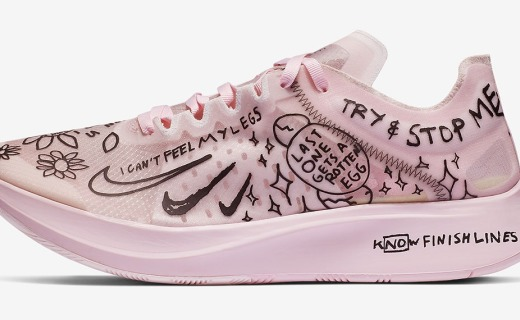 粉色情人節涂鴉風格!耐克發布新款Zoom Fly SP聯名跑鞋