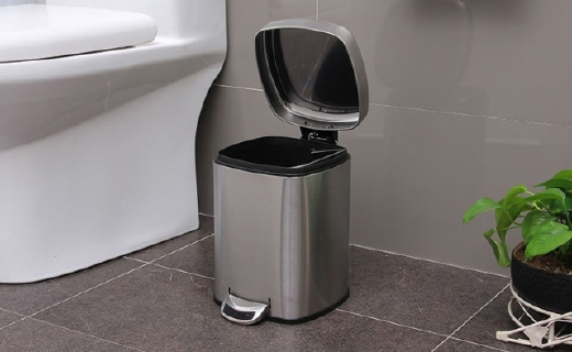 歐潤哲不銹鋼垃圾桶:6L超大容量,靜音開合還隔味兒