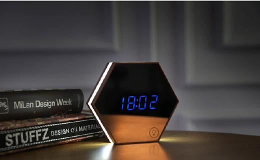 刻度創意創意鬧鐘:六角形狀可測量溫度,浮空數顯科技感十足