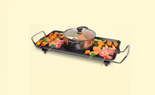 TaTanice电烤盘: 立体纹路轻?#33203;?#27833;,煎炒炸烤涮煮样样精通