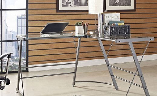 Dorel Chief鋼化玻璃辦公桌:簡約L字轉角設計,美觀大方實用性更強