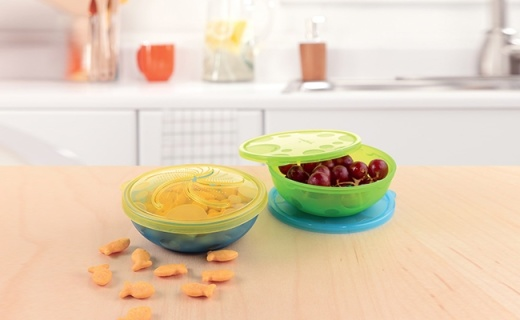 Munchkin婴儿碗勺套装:不含BPA柔软材质,防滑防摔密封防漏