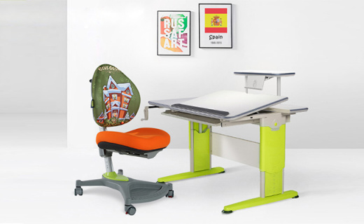 Ecus毕加索系列儿童学习书桌:安全机械升降可调节,军?#24405;?#38050;材