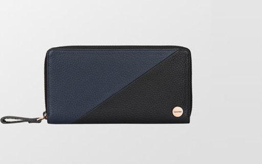 Calvin Klein長款錢包:拼色外觀,荔枝紋牛皮材質,時髦又好用