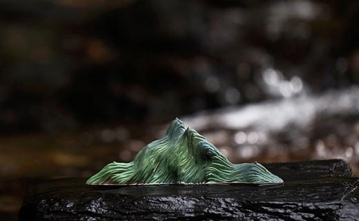山水间青山笔架:纯手工捏制,高温窑变自然釉色尽显雅致