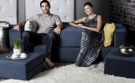 隨意變形組合的模塊化沙發,客廳一秒變臥室