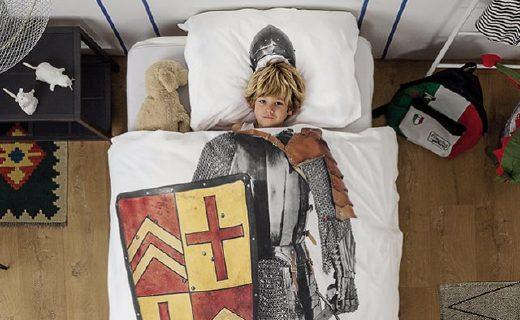 Snurk骑士主题被罩:纯棉面料柔软舒适,?#26222;?#21360;花图案