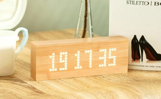 HausGebrauch LED燈鬧鐘:仿天然竹木表皮設計,支持多值息顯示