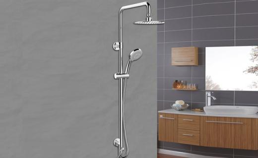 科勒三出水淋浴柱:8寸超薄頂噴,空氣注入噴水更暢快