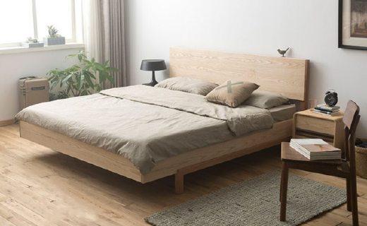 厭式房間雙人床:天然紋理床頭無修色,高強度櫻桃木骨架