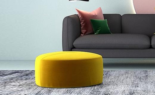 Hoye沙发凳:丝滑绒布坐感舒适,鹅卵石设计现代感强