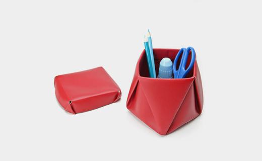 vacaValiente正方形收纳筒:皮革材质坚韧耐用,带有防尘盖