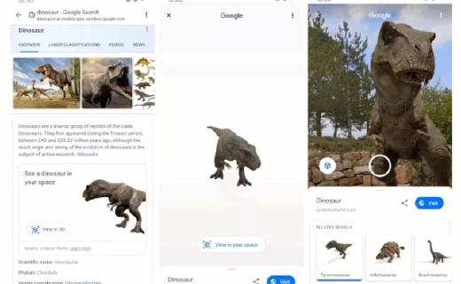 新技術!谷歌已實現通過AR技術在現實世界中看到遠古時代的恐龍