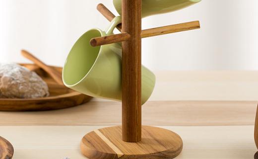 Amano杯子收纳架:清香柚木材质,马克杯不再乱放
