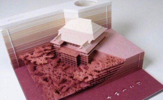 日本創意便簽,撕著撕著就成了微型建筑模型
