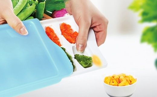 OXO儿童辅食格:分格储存不串味,环保材质妈妈放心