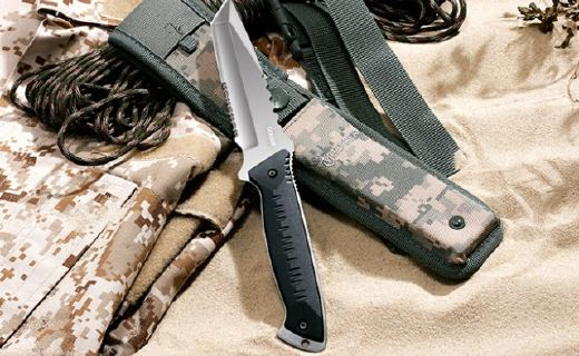 戈博戶外刀具:多功能半齒半刃,一體龍骨刀身結實耐用