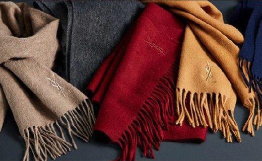 YSL純羊毛圍巾 :純羊毛材質溫暖舒適,款式低調有逼格