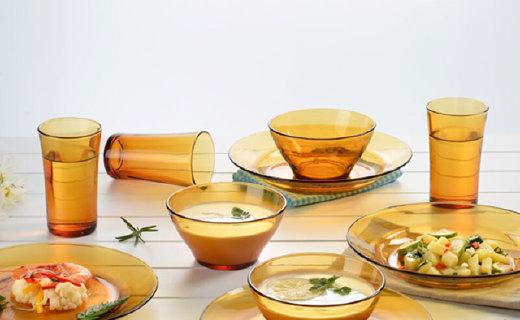 多萊斯琥珀色餐具套裝:一體成型工藝,不易沾染油污