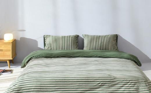 網易嚴選床品套件:長絨棉親膚透氣,百隆紗線別致著色感