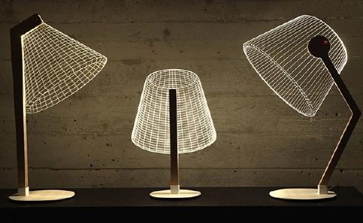 環保耐用的錯覺臺燈,薄薄一片呈現立體效果