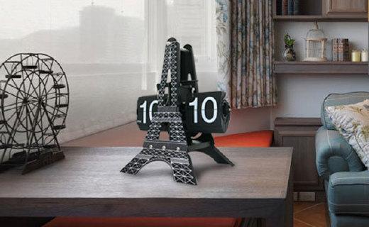 Xindingtai巴黎埃菲尔铁塔翻页座钟:高档不锈钢打造质感满满