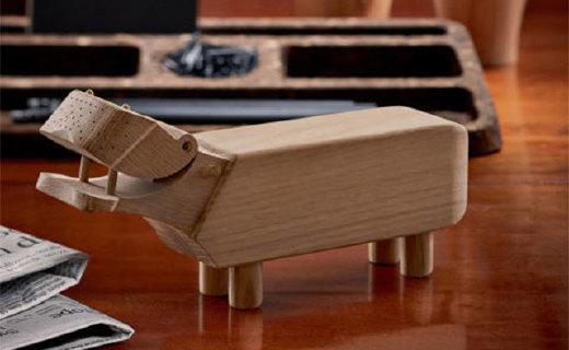 Rosendahl河马笔架:橡木材质天然复古,可爱造型为你带来乐趣