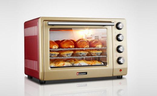 海氏電烤箱:鍍鋁內膽循環烘烤,大容量設計為吃貨而生