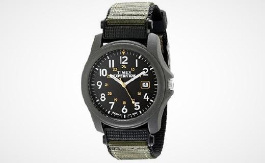 天美時T42571石英手表:夜光表盤看時方便,尼龍表帶佩戴舒適