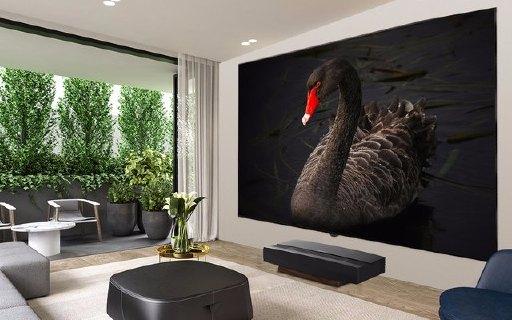 極米雙色激光電視T1:120英寸大屏4K分辨率、黑胡桃木機身