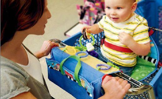 費雪購物車坐墊:附帶三種可連結玩具,方便攜帶易于清潔