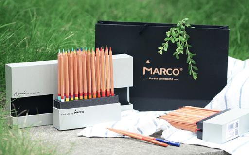 Marco雷诺阿彩铅48色套装:奢华版木盒装,色彩鲜艳?#21487;?#27969;畅