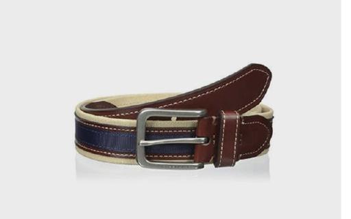 Tommy Hilfiger拼接腰带:帆布条纹简约显气质,纯手工制作扣头