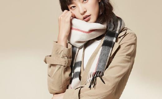 網易嚴選羊絨格紋圍巾:100%純羊絨溫暖舒適,梭織工藝不變形