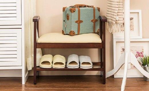 越茂實木換鞋凳:實木材質堅固穩定,三檔調節換鞋不費勁兒
