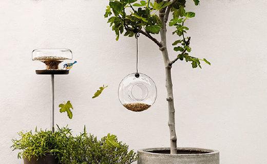 Eva Solo悬挂式喂鸟器:培养绿植喂养鸟儿,玻璃材质清洗方便