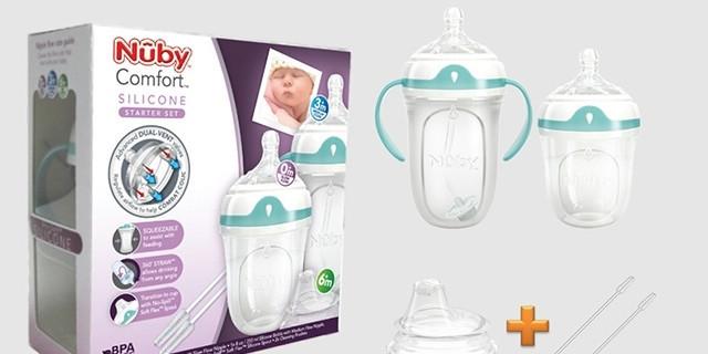 超級準奶爸首測Nuby Comfort硅膠奶瓶組合裝