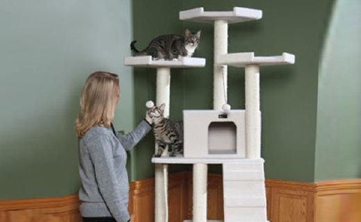 Armarkat经典版猫爬架:环保材质无刺激,剑麻柱杆猫咪能磨爪