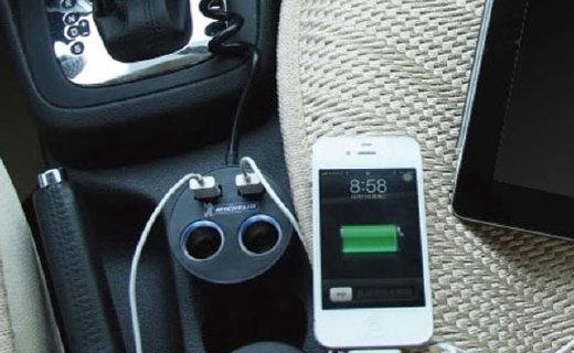 米其林车载充电器:双USB口输出,带两个点烟口