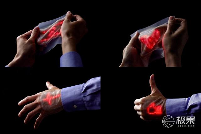 科技新方向!科研人员制造出可贴在皮肤上的全彩超薄皮肤显示器